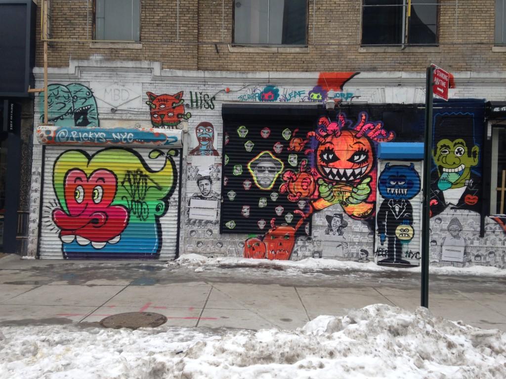 Grafite em muro de Nova York, em janeiro de 2015: eles ajudam a dar cor a cidades cinzas (e geladas, no caso) - foto de Leandro Beguoci