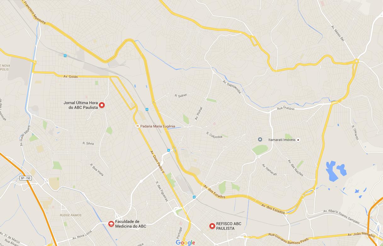 Mapa do ABC com ênfase na linha de trem (Fonte: Google Maps)