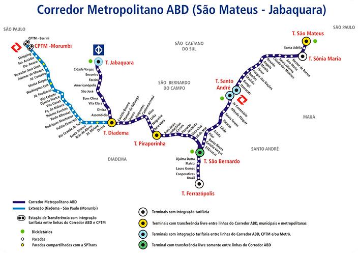 Mapa do corredor ABD - São Mateus - Jabaquara (Fonte: EMTU)