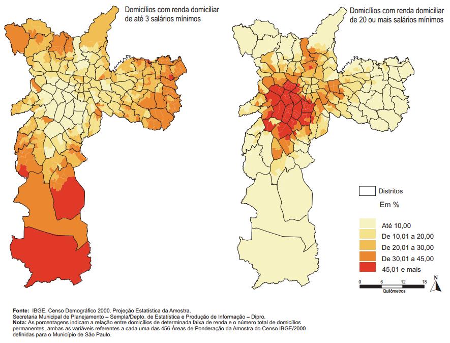 Distribuição dos domicílios por faixa de renda, na cidade de São Paulo