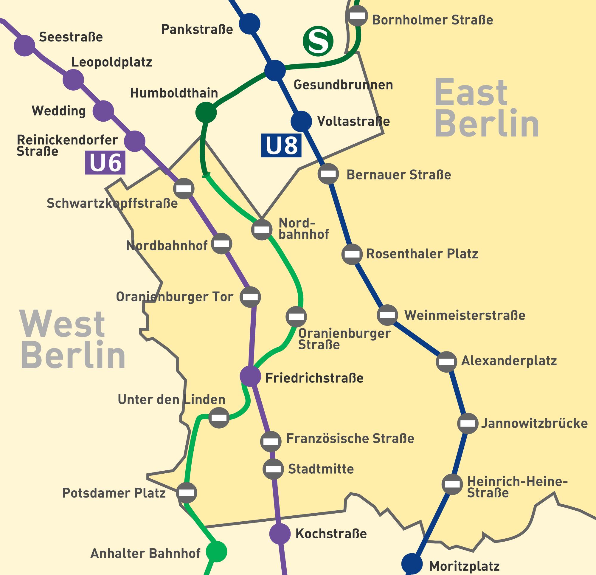 """Mapa das linhas de metrô e trem urbano de Berlim Ocidental que passavam pelo lado oriental. As bolinhas com """"-"""" indicam estações fechadas"""