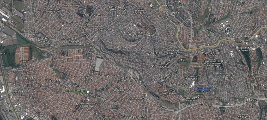 Foto aérea mostrando a divisa entre Santo André e São Paulo (Google Maps)