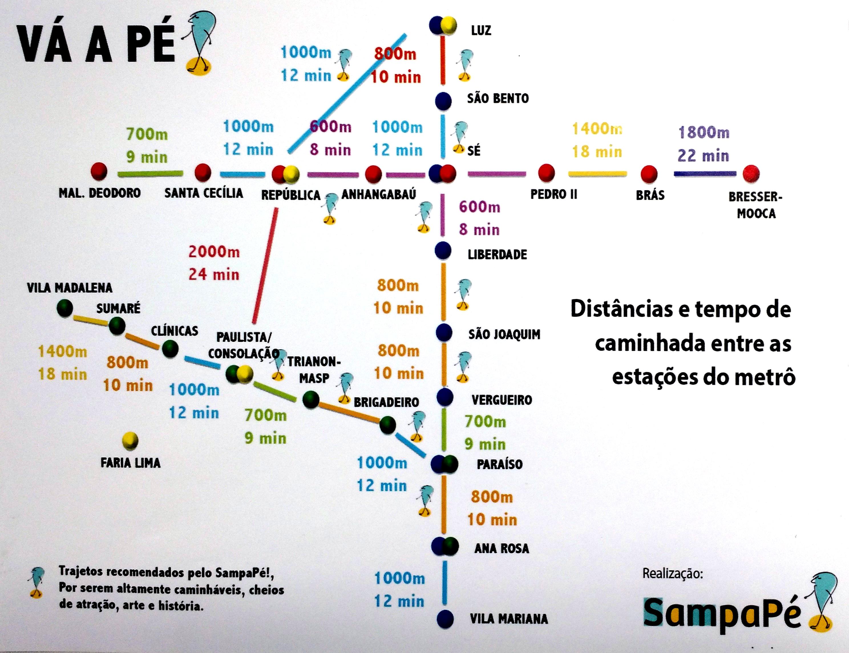 Mapa com as distâncias a pé entre uma estação de metrô e outra