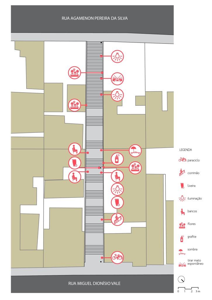 Elementos previstos no projeto do Cidade Ativa para o escadão Pereira Machado