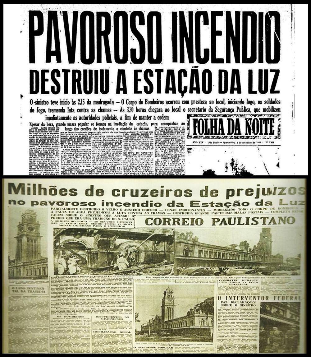 Capas das edições da Folha da Noite e do Correio Paulistano no dia seguinte ao incêndio de 1946 da Estação da Luz (Reprodução)