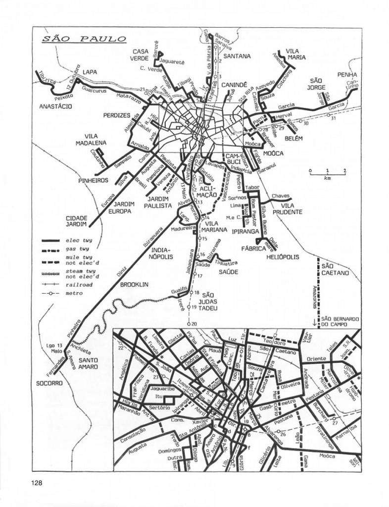Mapa das linhas de bonde paulistanas de 1930