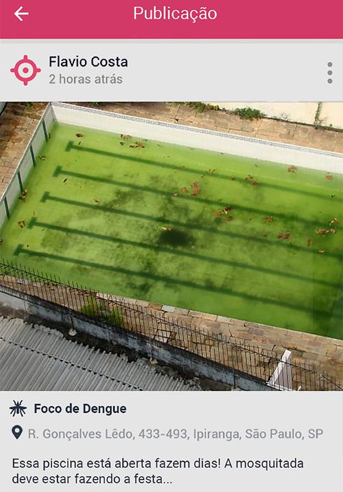 Exemplo de denúncia do Sem Dengue (Divulgação)