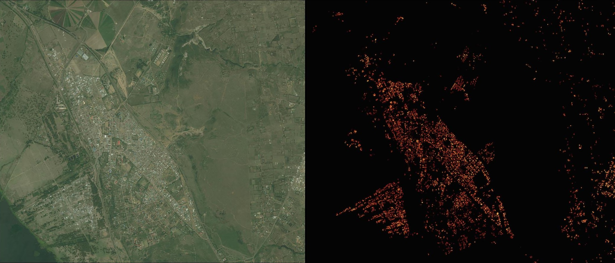 À esquerda, mapa de Naivasha da Universidade de Columbia, à direita a representação dos povoamentos feita pelo Facebook (Divulgação)