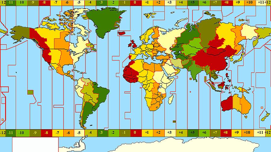 Mapa com os fusos horários do mundo, ainda sem o horário de verão chileno