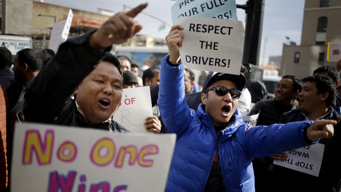 Motoristas de Uber protestam contra a empresa em Nova York (AP Photo/Seth Wenig)