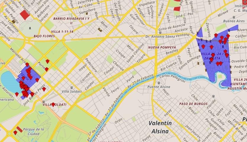 Favelas mapeadas no Caminos de la Villa (Reprodução)