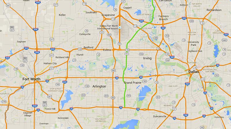 Mapa do sistema de autopistas da região metropolitana de Dallas-Fort Worth. A SH 161 está em verde