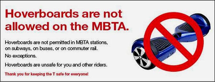 Aviso da MBTA sobe o uso de hoverboards no transporte público de Boston (Divulgação)