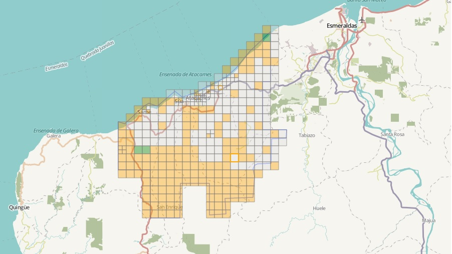 Visualização do OpenStreetMap mostrando áreas validadas em verde, terminadas em amarelo, invalidadas em cinza e atualmente trabalhadas em branco (reprodução)