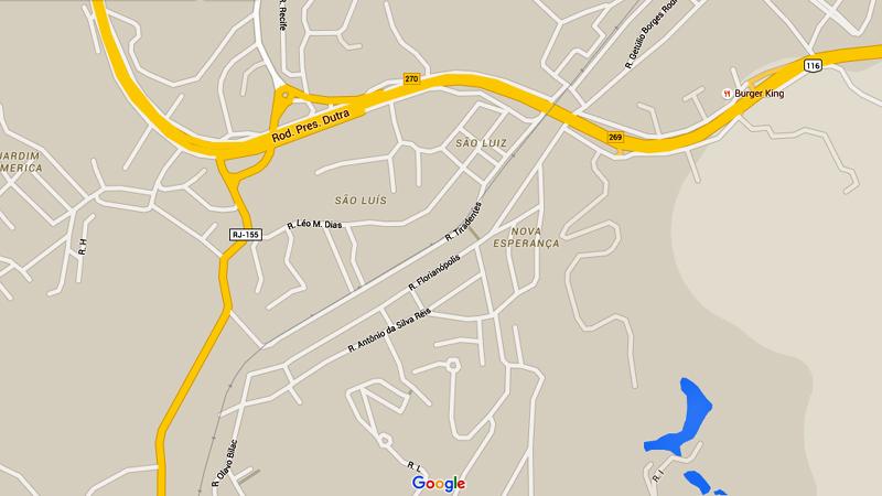 Mapa de São Luís e Nova Esperança, bairros de Barra Mansa