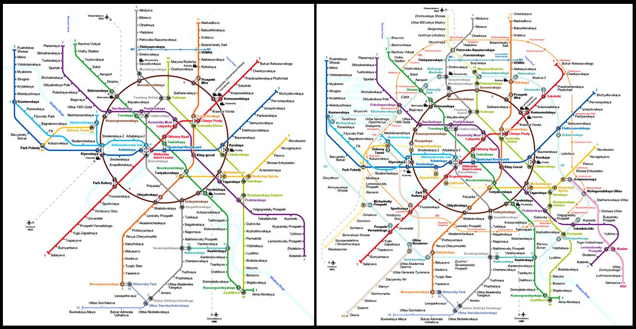 Mapa do metrô de Moscou no início da década (à esquerda) e a previsão após a expansão
