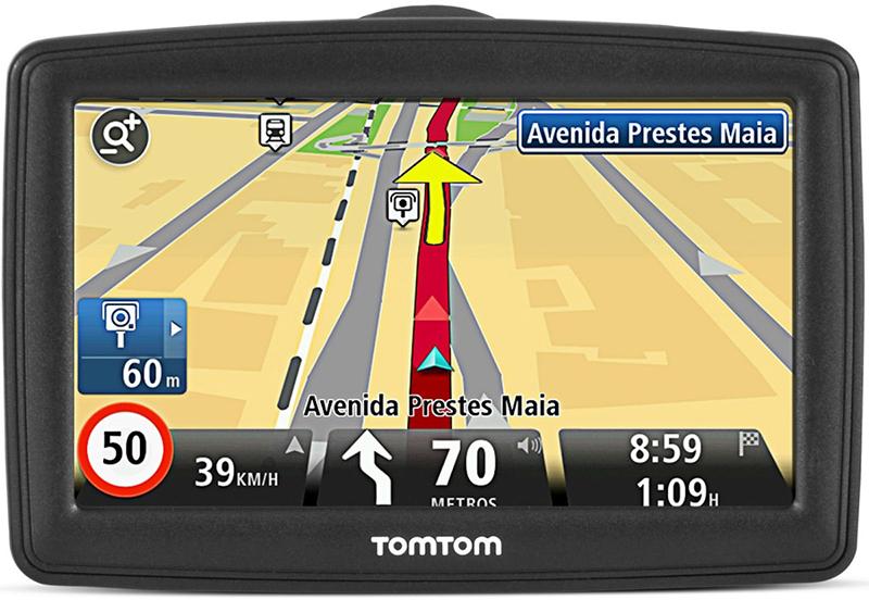 Tela de GPS TomTom indicando rota em São Paulo