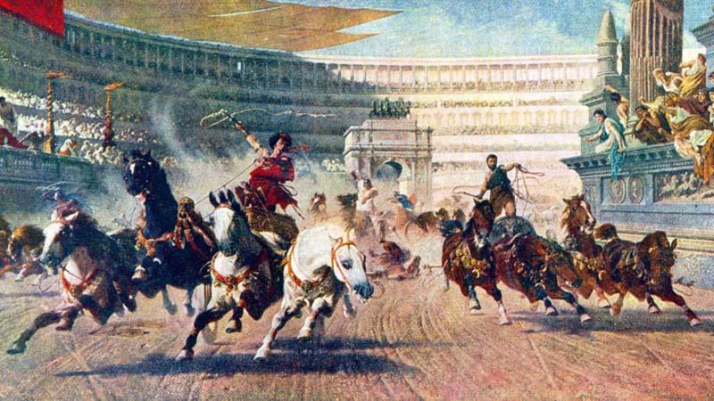 Ilustração de corrida de bigas no hipódromo de Constantinopla