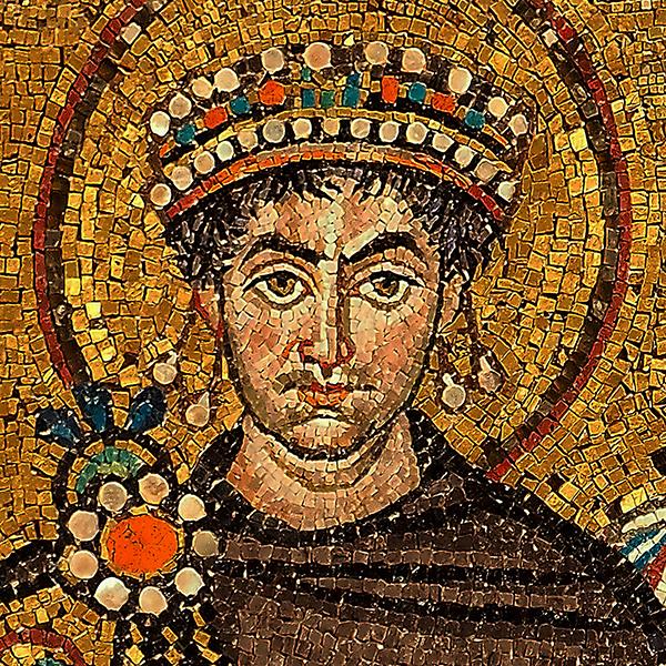Retrato de Justiniano I em mosaico na Basílica de São Vital, em Ravena (Itália)