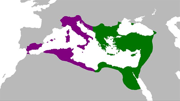 Império Bizantino no início do governo de Justiniano I (verde) e os territórios conquistados (roxo)