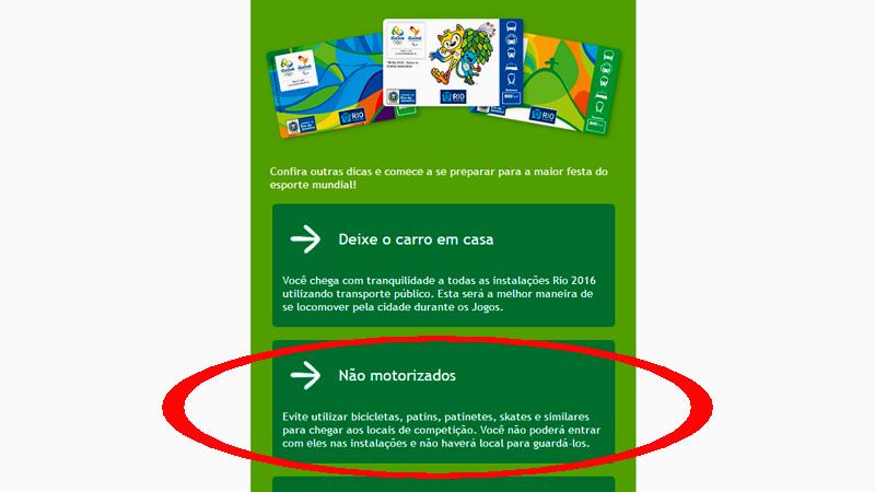 Trecho de newsletter da organização Rio-2016
